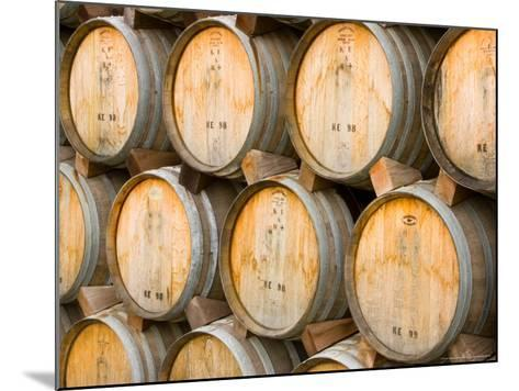 Oak Barrels in Winery, Sonoma Valley, California, USA-Julie Eggers-Mounted Photographic Print