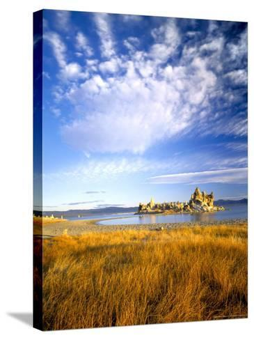 Altocumulus Clouds above Rushes and Tufa on Shore of Mono Lake, California, USA-Scott T^ Smith-Stretched Canvas Print