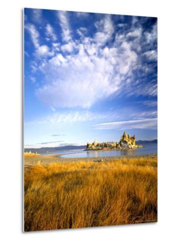 Altocumulus Clouds above Rushes and Tufa on Shore of Mono Lake, California, USA-Scott T^ Smith-Metal Print