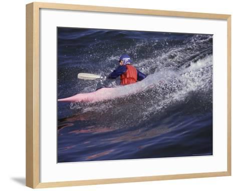 Kayak Surfing, Santa Cruz, California, USA-Stuart Westmoreland-Framed Art Print