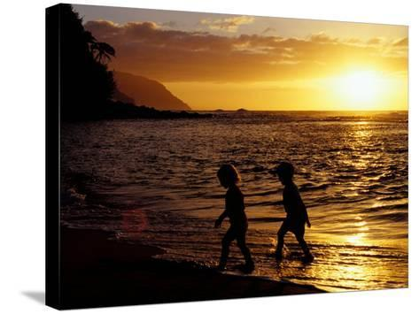 Kids on Beach at Sunset, Hawaii, USA-John & Lisa Merrill-Stretched Canvas Print