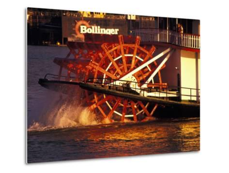 Couple Enjoying Sunset on Mississippi River, New Orleans, Louisiana, USA-Adam Jones-Metal Print