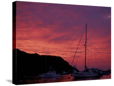 Boats at Sunset in Monhegan Harbor, Maine, USA-Jerry & Marcy Monkman-Stretched Canvas Print