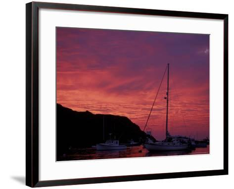 Boats at Sunset in Monhegan Harbor, Maine, USA-Jerry & Marcy Monkman-Framed Art Print