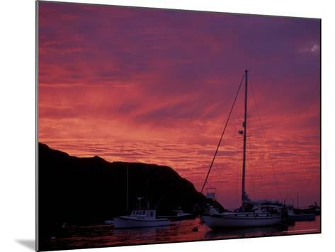 Boats at Sunset in Monhegan Harbor, Maine, USA-Jerry & Marcy Monkman-Mounted Photographic Print