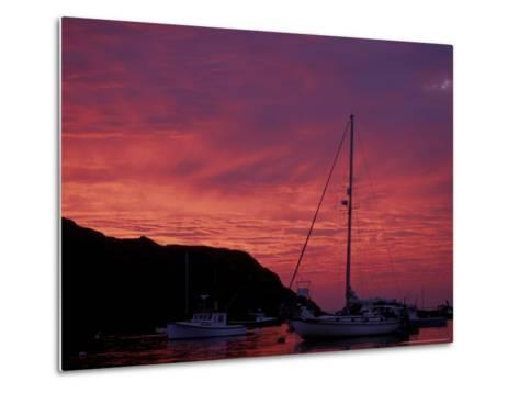 Boats at Sunset in Monhegan Harbor, Maine, USA-Jerry & Marcy Monkman-Metal Print