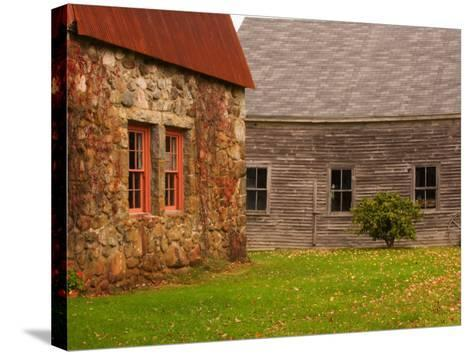 Wooden Barn and Old Stone Building in Rural New England, Maine, USA-Joanne Wells-Stretched Canvas Print