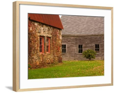 Wooden Barn and Old Stone Building in Rural New England, Maine, USA-Joanne Wells-Framed Art Print