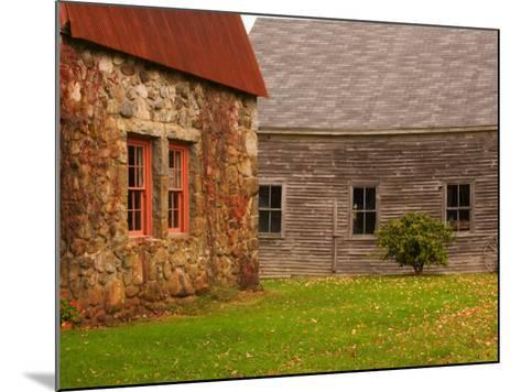Wooden Barn and Old Stone Building in Rural New England, Maine, USA-Joanne Wells-Mounted Photographic Print