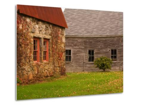Wooden Barn and Old Stone Building in Rural New England, Maine, USA-Joanne Wells-Metal Print