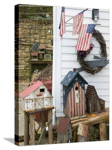 Patriotic Birdhouses, USA-Walter Bibikow-Stretched Canvas Print