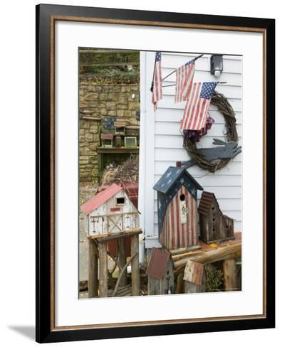 Patriotic Birdhouses, USA-Walter Bibikow-Framed Art Print