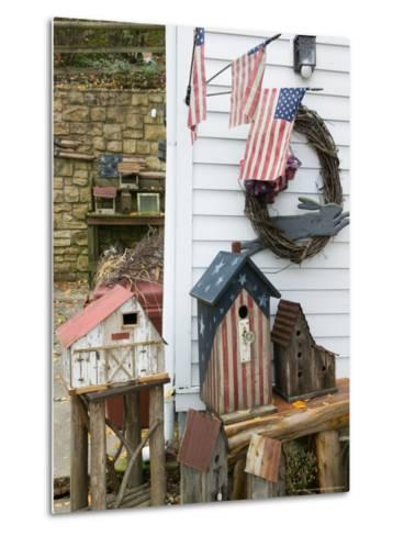 Patriotic Birdhouses, USA-Walter Bibikow-Metal Print