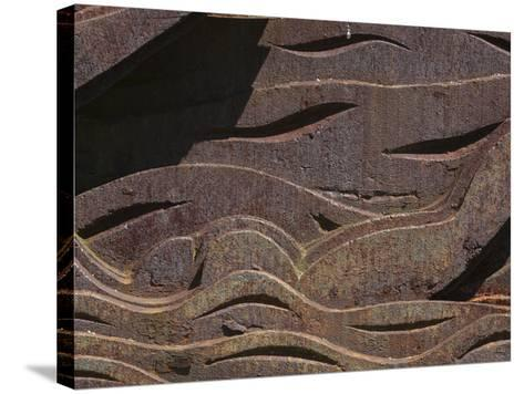 Close-up of the Carved Detail in Rusty Metal--Stretched Canvas Print