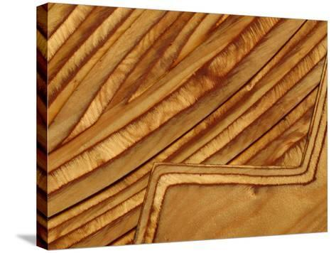 Close-up of Smooth Detail Lines Carved into a Piece of Wood--Stretched Canvas Print