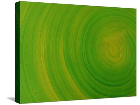 Close-up of Smooth Painted Green Swirls--Stretched Canvas Print