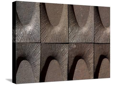 Close-up of Engraved Metal with Lines of Texture in Arches--Stretched Canvas Print