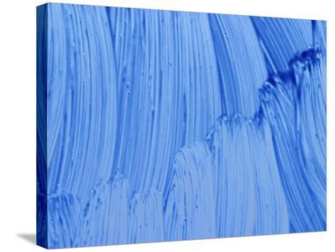 Close-up of Blue Paint Smeared in Thick Streaks--Stretched Canvas Print