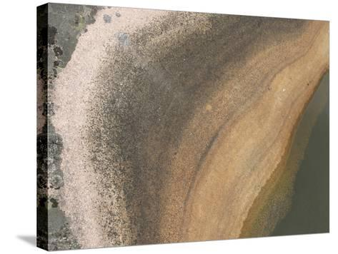 A Boulder with Lichens Growing and a Pool of Water Creating Layers of Color--Stretched Canvas Print