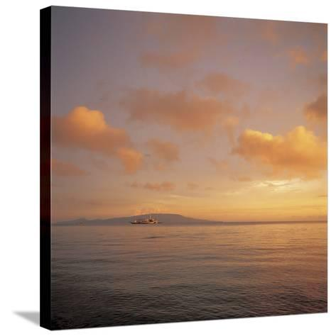Golden Sunset Over Shimmering Ocean Waters--Stretched Canvas Print
