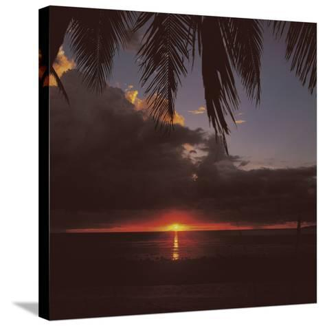 Colorful Tropical Sunset Over Dark Ocean--Stretched Canvas Print