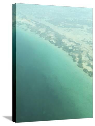 Aerial View of Green Seashore and Island--Stretched Canvas Print