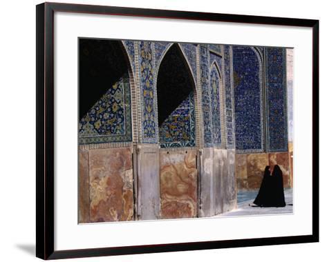 Women in Chadors Outside Masjed-E Emam, Previously Masjed-E Shah, Esfahan, Iran-John Borthwick-Framed Art Print