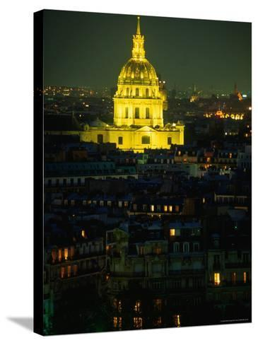 Napoleon's Tomb, in Eglise Du Dome of Hotel Des Invalides, at Night Paris, France-John Hay-Stretched Canvas Print