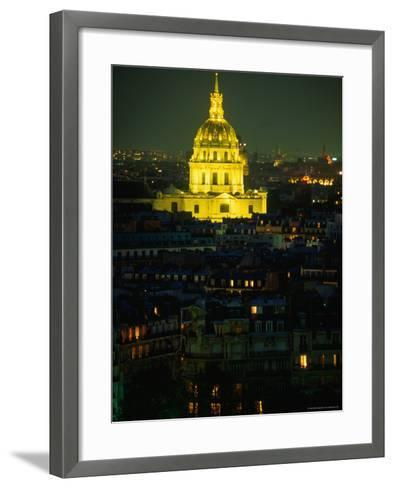 Napoleon's Tomb, in Eglise Du Dome of Hotel Des Invalides, at Night Paris, France-John Hay-Framed Art Print