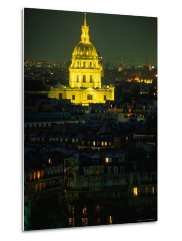 Napoleon's Tomb, in Eglise Du Dome of Hotel Des Invalides, at Night Paris, France-John Hay-Metal Print