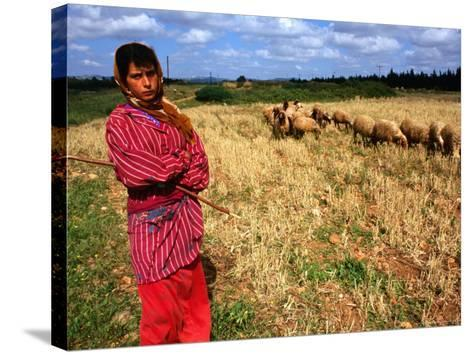 Shepherd Girl with Sheep, Amrit, Syria-Wayne Walton-Stretched Canvas Print