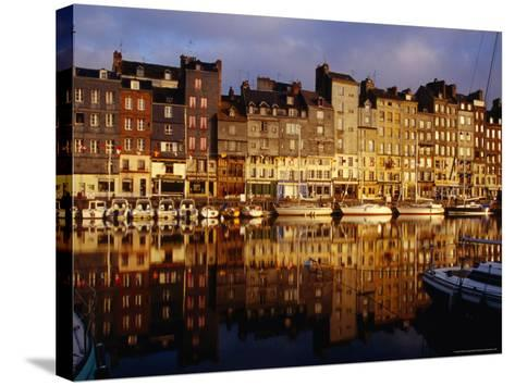 Morning Reflections of Vieux Bassin, Honfleur, Basse-Normandy, France-Diana Mayfield-Stretched Canvas Print