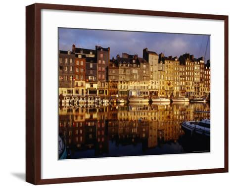 Morning Reflections of Vieux Bassin, Honfleur, Basse-Normandy, France-Diana Mayfield-Framed Art Print