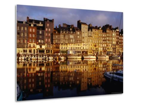 Morning Reflections of Vieux Bassin, Honfleur, Basse-Normandy, France-Diana Mayfield-Metal Print