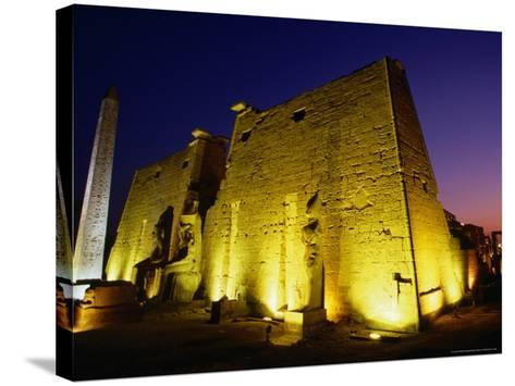 Ancient Temple at Night, Luxor, Egypt-Wayne Walton-Stretched Canvas Print