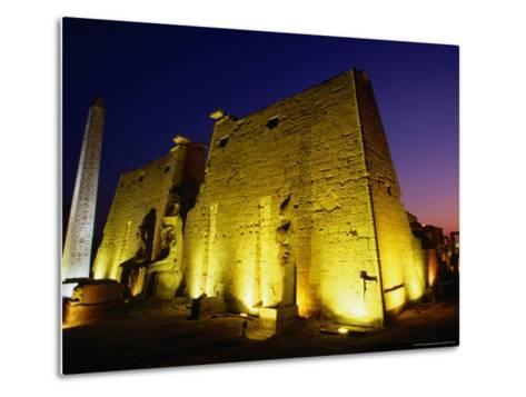 Ancient Temple at Night, Luxor, Egypt-Wayne Walton-Metal Print