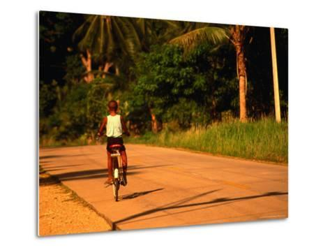 Boy Riding Bike on Dirt Road, Ko Samui, Surat Thani, Thailand-Dallas Stribley-Metal Print