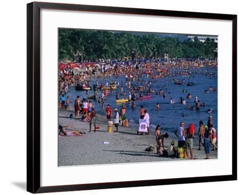 Beachgoers at El Rodadero in Seaside Suburb of Santa Marta During Holiday Season, Colombia-Krzysztof Dydynski-Framed Art Print