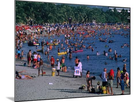 Beachgoers at El Rodadero in Seaside Suburb of Santa Marta During Holiday Season, Colombia-Krzysztof Dydynski-Mounted Photographic Print
