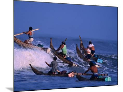 Fishermen Paddle Their Cabillitos De Totora Reed Boats Out Through Waves, Pimentel, Peru-Paul Kennedy-Mounted Photographic Print