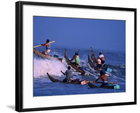 Fishermen Paddle Their Cabillitos De Totora Reed Boats Out Through Waves, Pimentel, Peru-Paul Kennedy-Framed Art Print