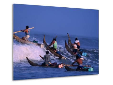 Fishermen Paddle Their Cabillitos De Totora Reed Boats Out Through Waves, Pimentel, Peru-Paul Kennedy-Metal Print