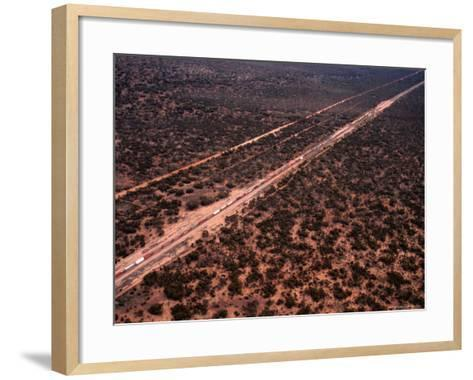 Trans-Continental Railway Line Crossing Outback, Australia-Diana Mayfield-Framed Art Print