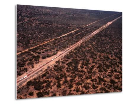 Trans-Continental Railway Line Crossing Outback, Australia-Diana Mayfield-Metal Print