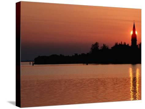 Sunset Over Poveglia Island and the Lagoon, Venice, Veneto, Italy-Roberto Gerometta-Stretched Canvas Print