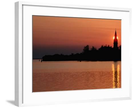 Sunset Over Poveglia Island and the Lagoon, Venice, Veneto, Italy-Roberto Gerometta-Framed Art Print
