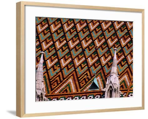 Detail of Roof of Matthias Church, Budapest, Pest, Hungary,-Roberto Gerometta-Framed Art Print