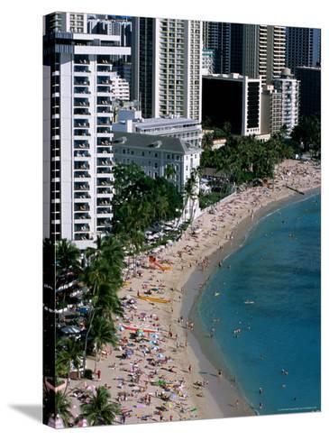 Aerial View of Waikiki Beach, Honolulu, USA-Holger Leue-Stretched Canvas Print