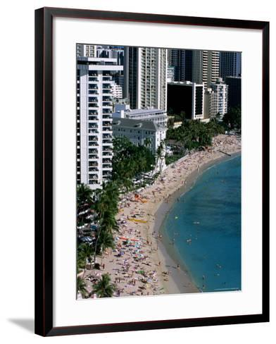 Aerial View of Waikiki Beach, Honolulu, USA-Holger Leue-Framed Art Print