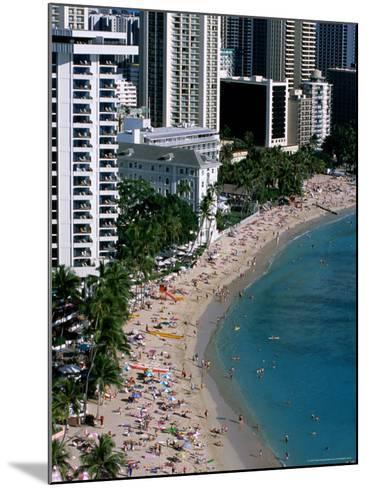 Aerial View of Waikiki Beach, Honolulu, USA-Holger Leue-Mounted Photographic Print